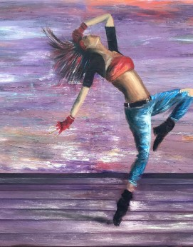 Dance Like Nobody's Watching by Melanie Elliott. Large original mixed media painting.