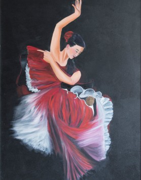 Flamenco Fire by Melanie Elliott. Large original oil painting.