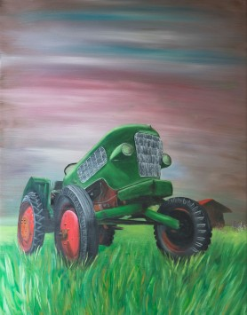 Forgotten Tractor by Melanie Elliott. Large original oil painting.