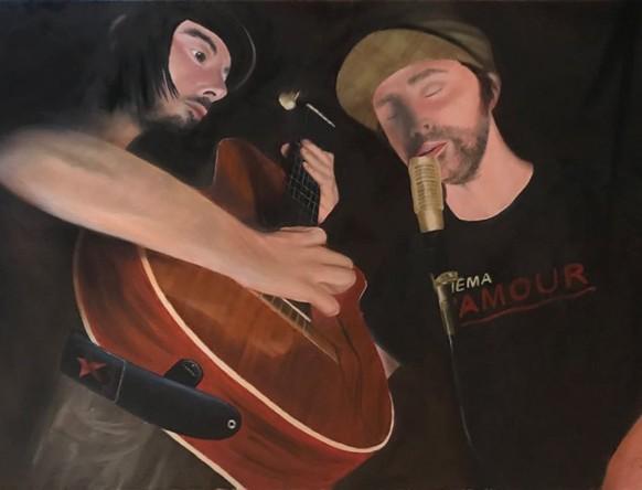 In Tune by Melanie Elliott. Large original oil painting on canvas.