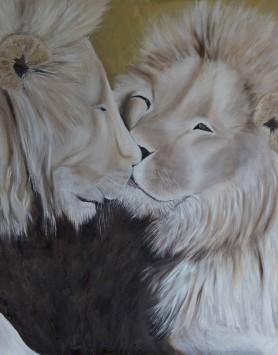 Lion Pride by Melanie Elliott. Large original oil painting.