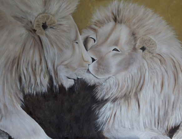 Lion Pride by Melanie Elliott. Large original oil painting.