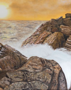 Rocky Cascade by Melanie Elliott. Large original oil painting.