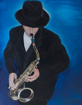 Sax Man by Melanie Elliott. Large original oil painting.