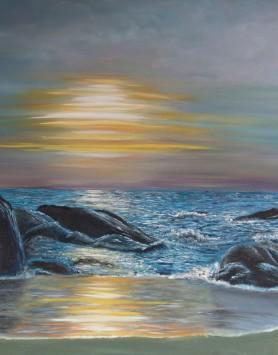 Sunset Beach by Melanie Elliott. Large original oil painting on canvas.