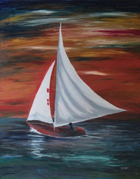 Sunset Sail by Melanie Elliott. Original oil painting.