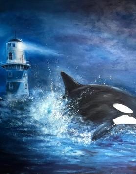 Whale Warning by Melanie Elliott. Large original oil painting.